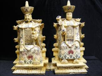 Bone Carving EMPOROR ANTIQUE BONE KING & QUEEN (B013)